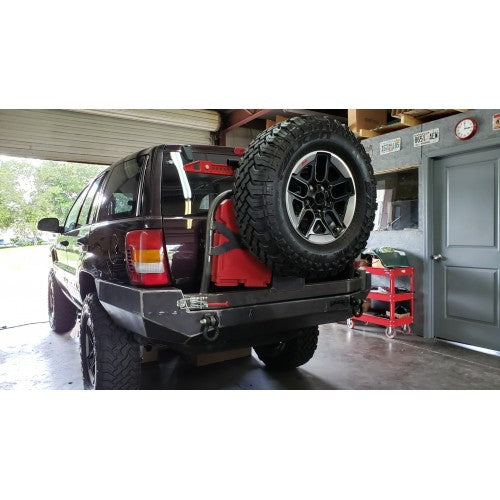 WJ Grand Cherokee Rear Bumper WITH Tire Carrier and Rotopax Carrier - KevinsOffroad.com / Overland-Ready.com