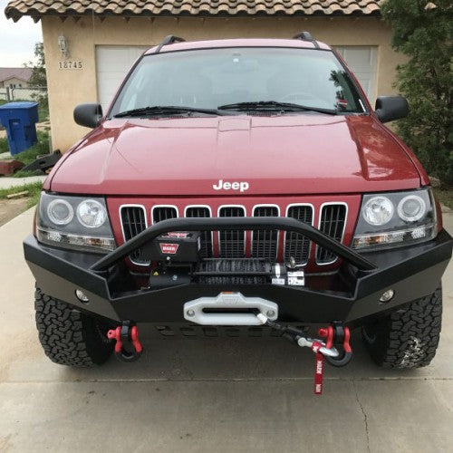 Jeep WJ Bumper: Grand Cherokee WJ Front Bumper w/ Winch Mount Stealth-Style Extreme DutyBumpers Towing & Recovery - KevinsOffroad.com / Overland-Ready.com