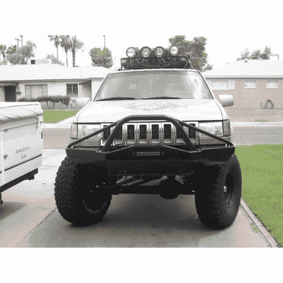 Protofab Jeep ZJ Grand Cherokee Front Bumper  - Stealth Style w/ light bar stinger - KevinsOffroad.com / Overland-Ready.com