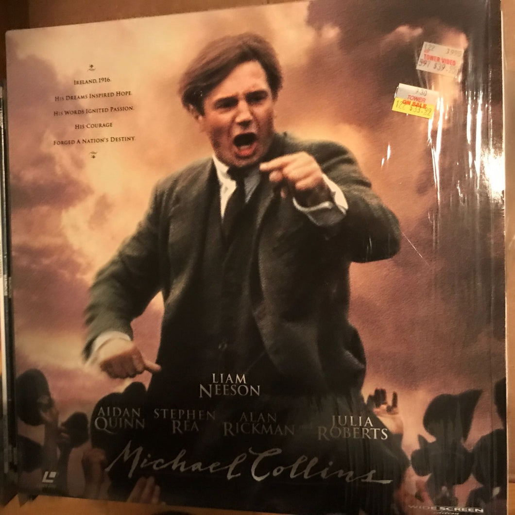ACTORS: Liam Neeson, Aidan Quinn<br>LASER DISC TITLE: Micheal Collins - Mediaworks Records