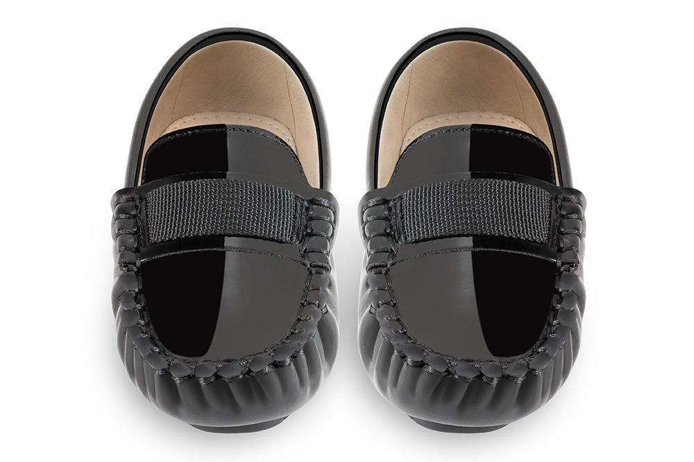 Black leather kids loafers