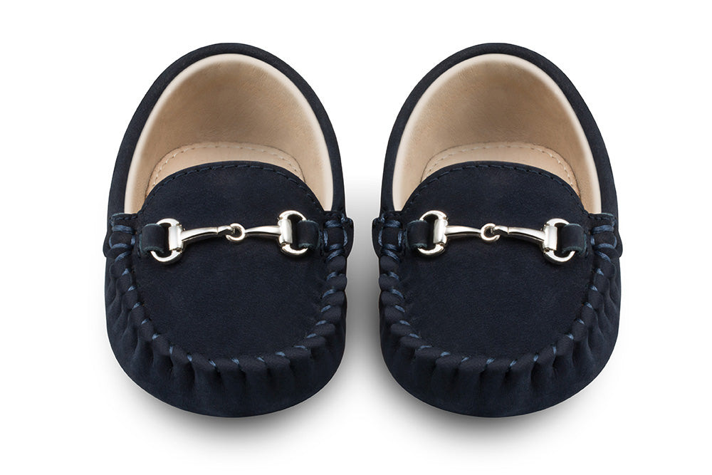 navy baby loafers