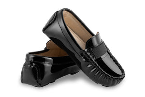 Boys black patent loafers - Oscar's for Kids
