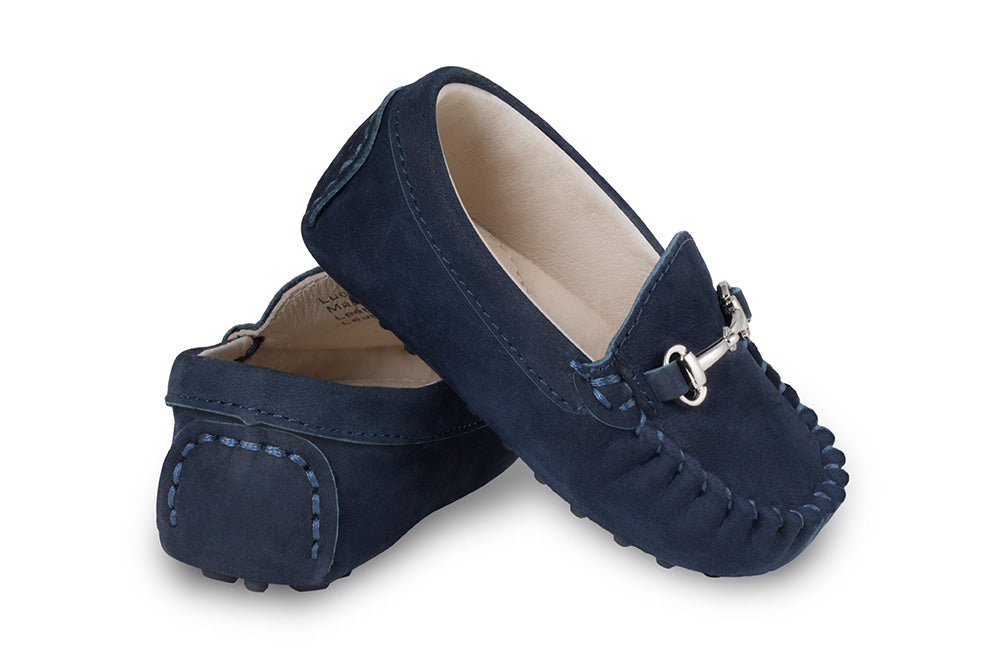 Baby navy suede loafers
