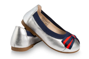 girls silver leather ballet shoes