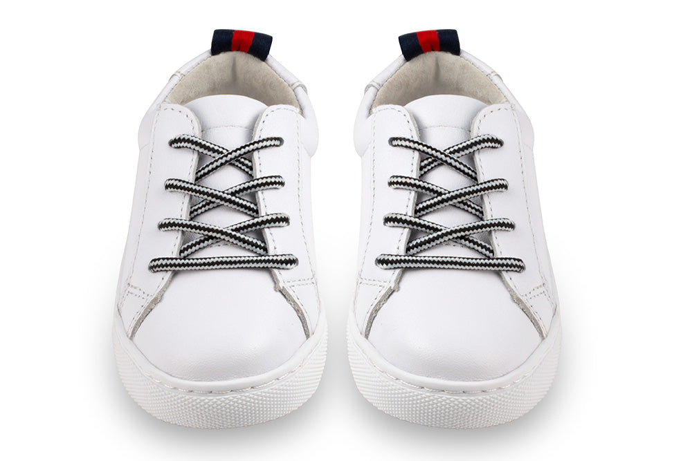 white leather kids sneakers