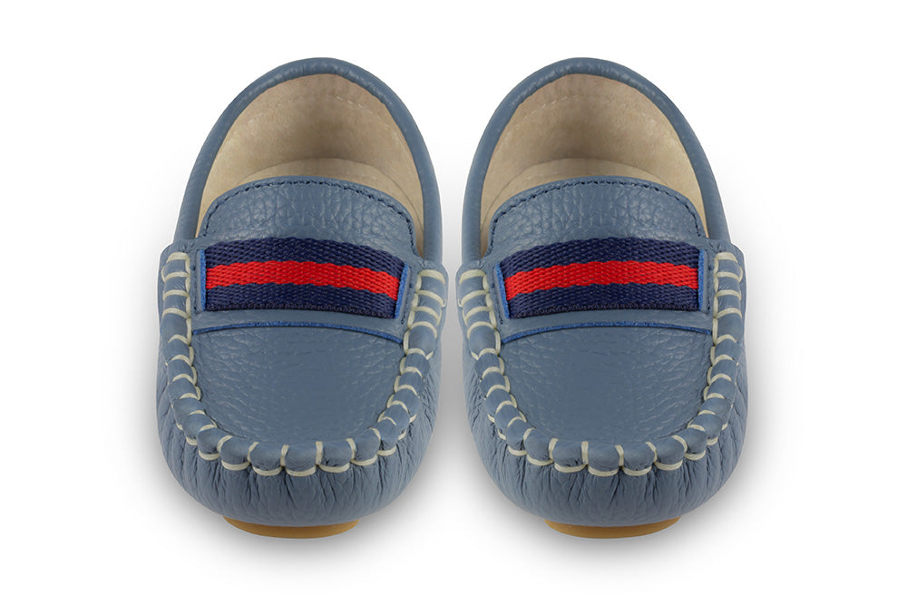 blue leather kids loafers