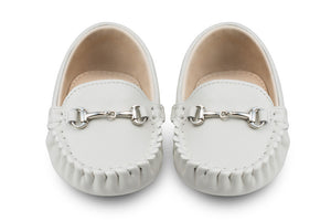 white baby loafers