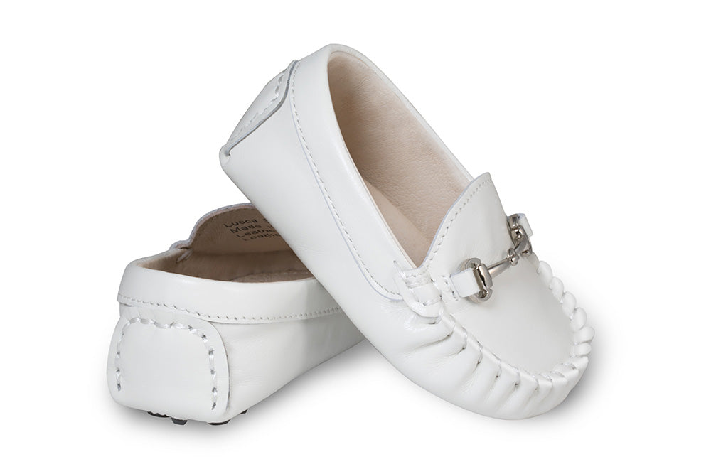 White Baby Suede Loafers