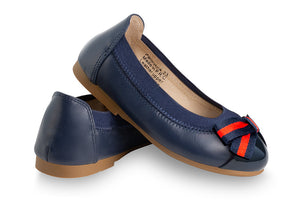 girls navy leather ballet shoes