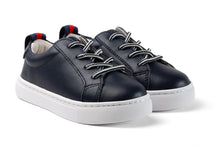 Navy leather kids sneakers