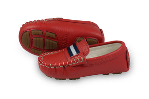 red leather kids loafers