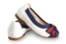 Girls white and navy ballet shoes - Oscar's for Kids
