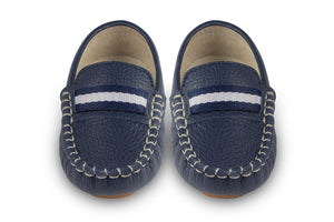 navy leather kids loafers