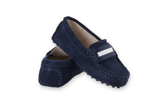 Navy soft suede kids loafers
