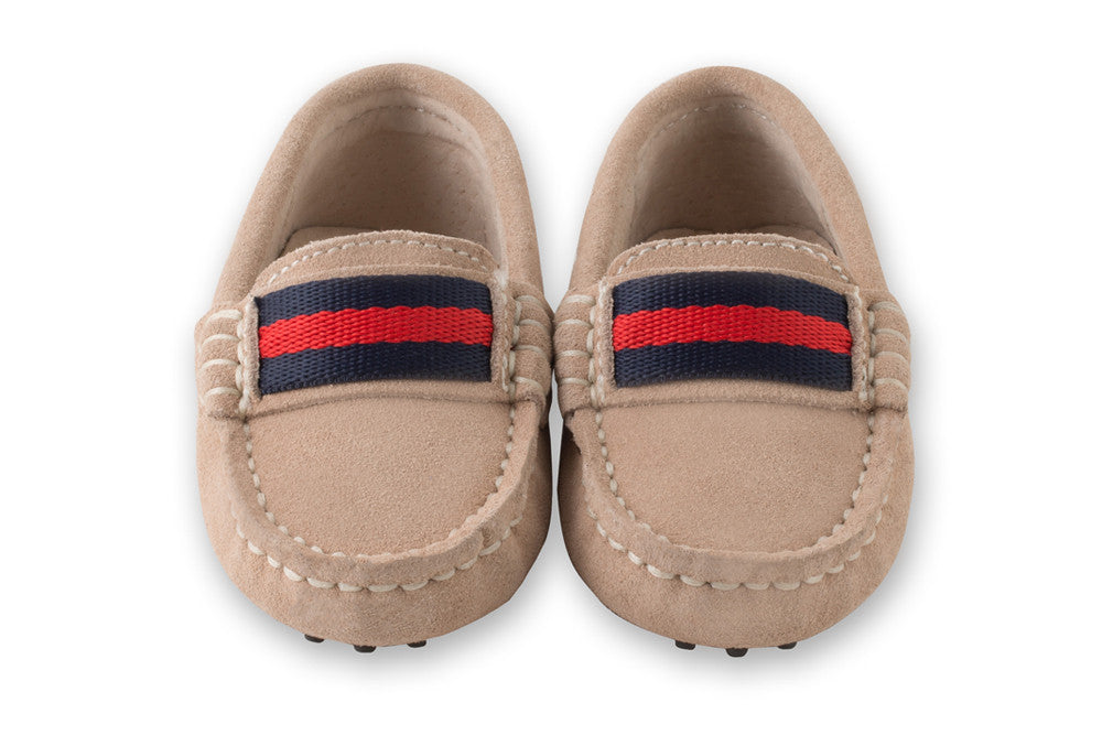 Beige soft suede kids loafers