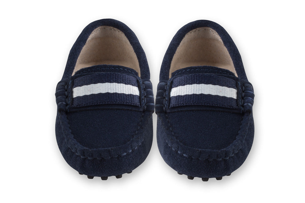 Boys navy suede loafers
