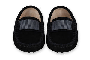 Black soft suede kids loafers