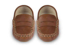 brown leather kids loafers