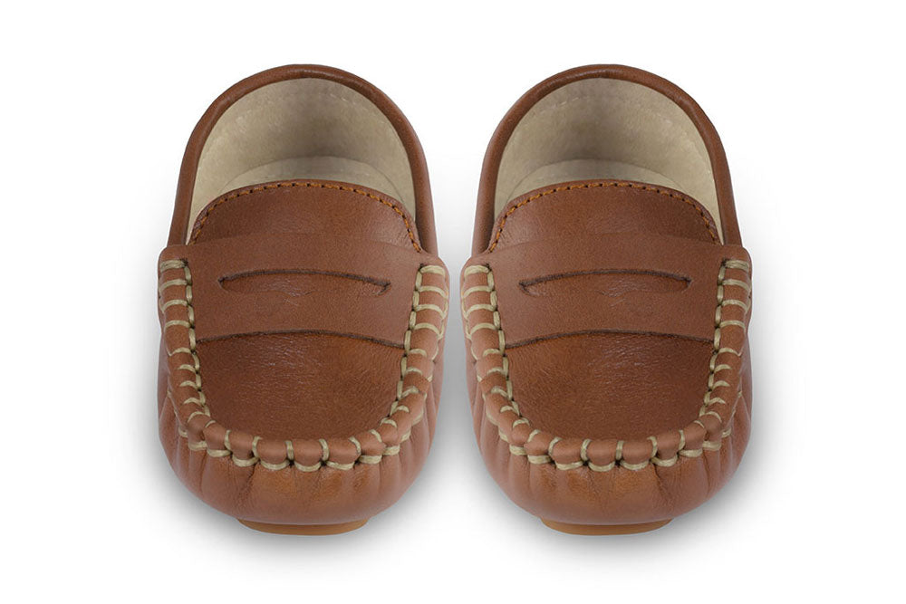 Boys brown leather loafers - Oscar's for Kids