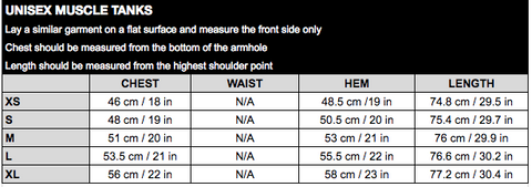 Unisex Muscle Size Guide