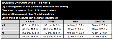 Womens Uni Dry Fit Tee Size Chart
