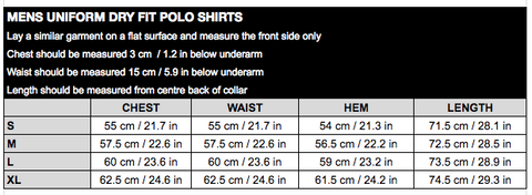 Mens Uni Dry Fit Polos Size Chart