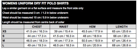 Womens Uni Dry Fit Polo Size Chart