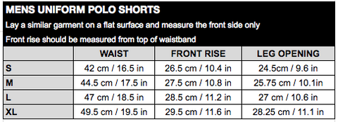 Mens Uni Polo Shorts Size Chart