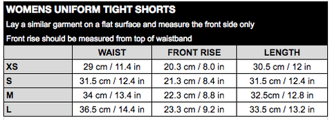 Womens Uni Tight Shorts Size Chart