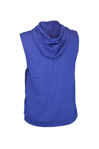 Mens Small Logo Blue Sleeveless Hoodie - CLEARANCE