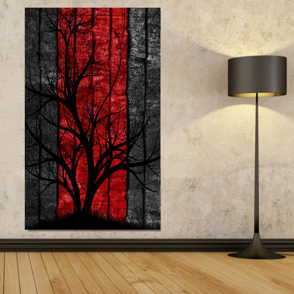 Abstract Red Tree Canvas