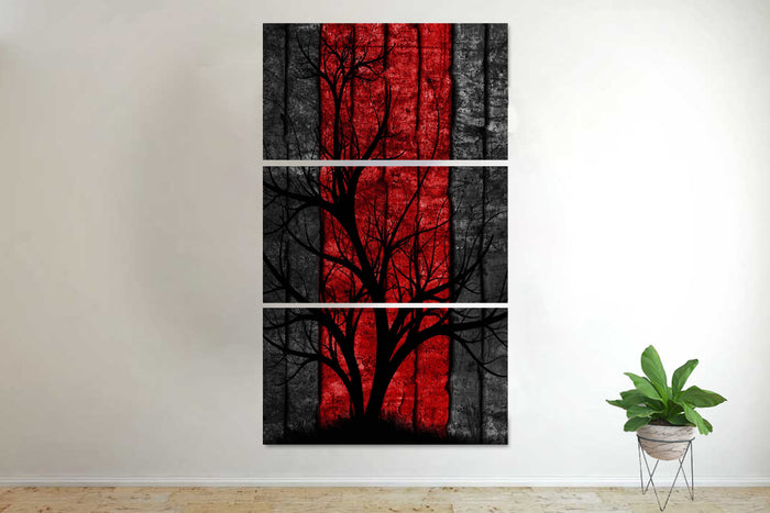 3 PC Abstract Red Tree Canvas