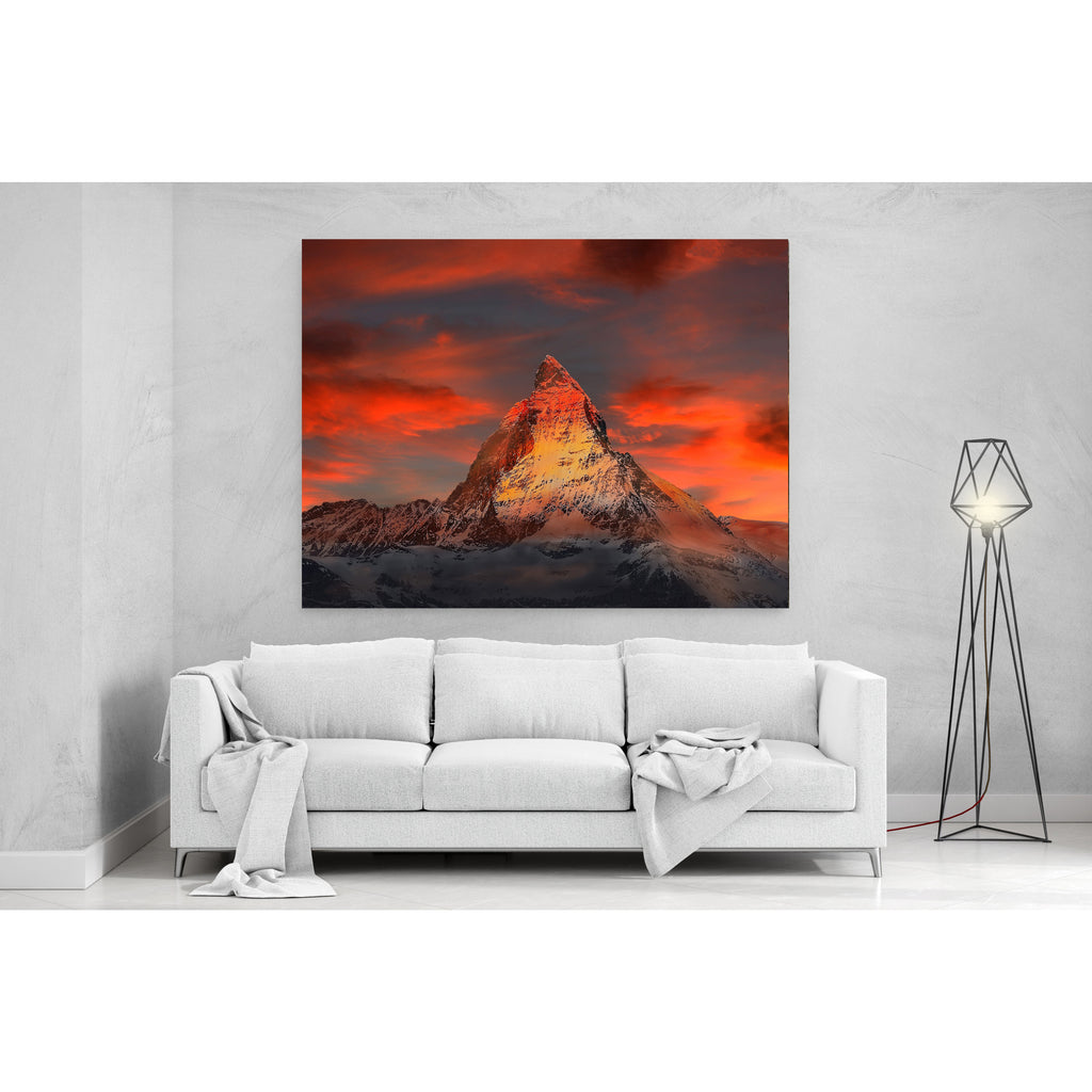 Red Snowy Mountain Canvas