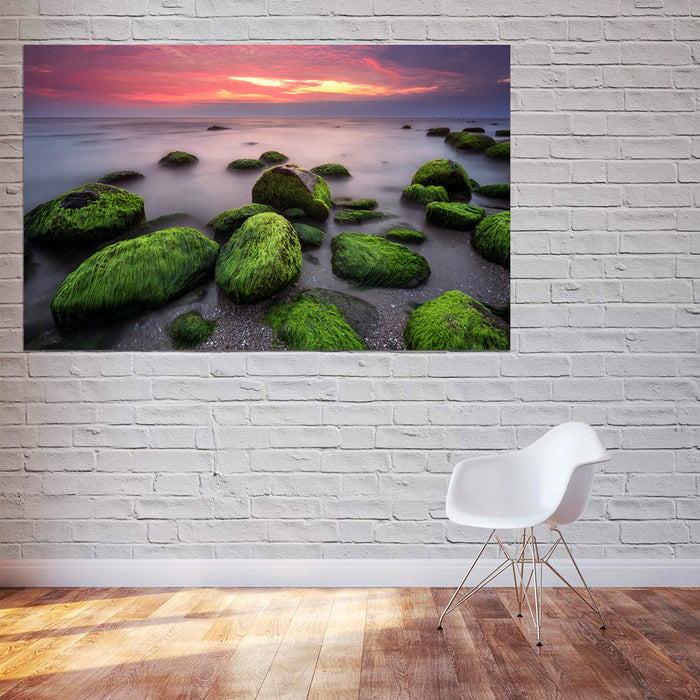 Sea Stones Sunset Canvas