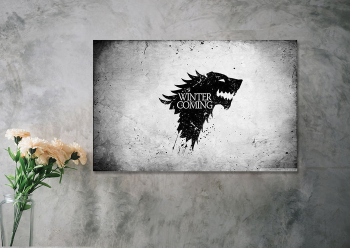 Black And White Direwolf Canvas
