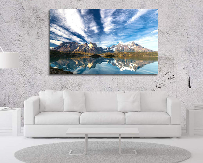 Cloudy Mountain Reflection Canvas