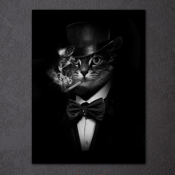 Smoking Gentleman Black Cat Canvas