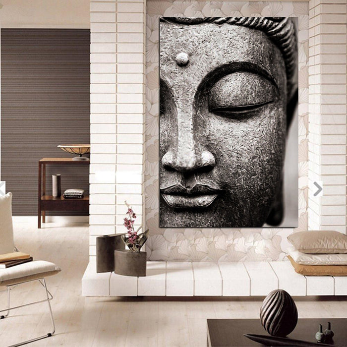 Modern Gray Buddha Canvas