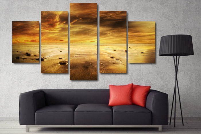 Yellow Sunset Beachy Sands Canvas
