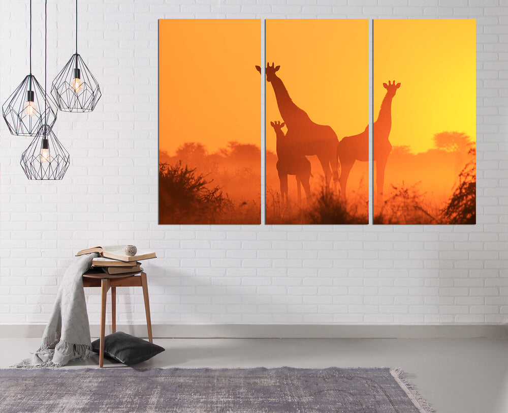 Giraffe Sunsets Canvas