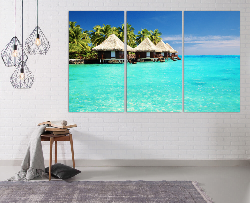 Maldives Islands Huts Canvas