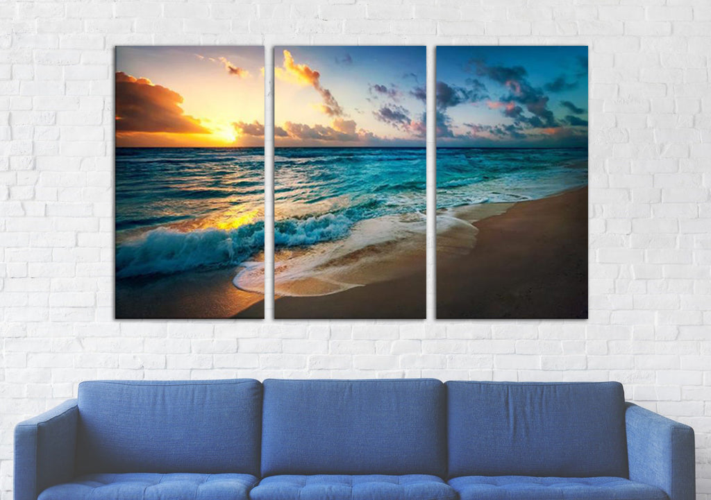 Sunset Over Beach Canvas