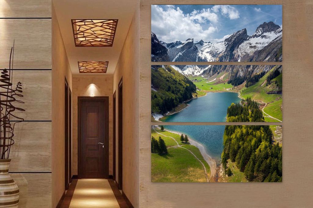 Swiss Mountain Lake Canvas