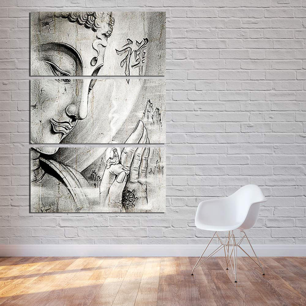 Gray Buddha Canvas