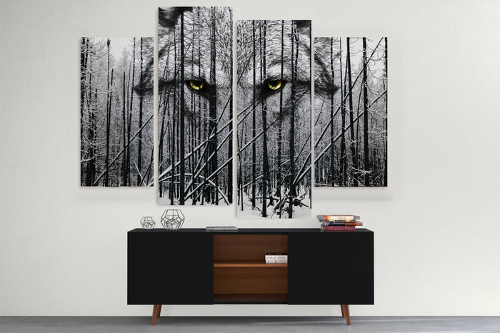 Wolf In The Winter Woods Canvas