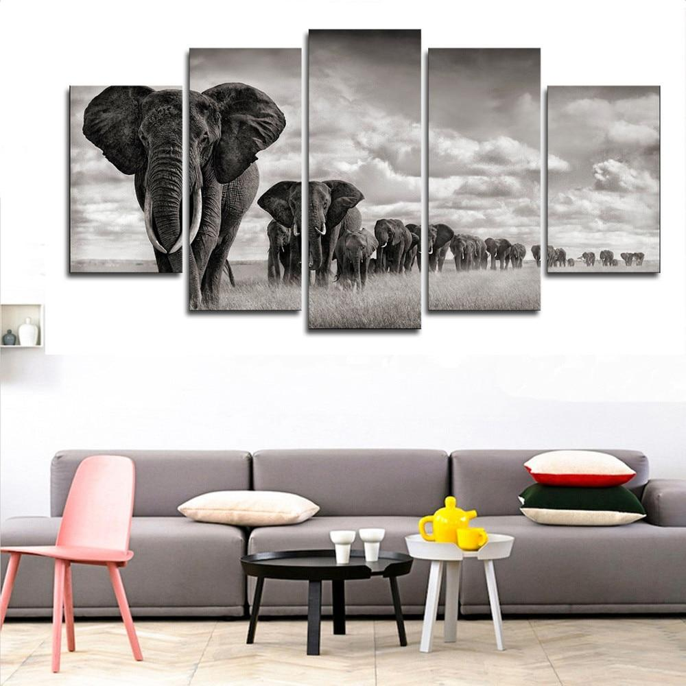 Black and White Elephants Canvas