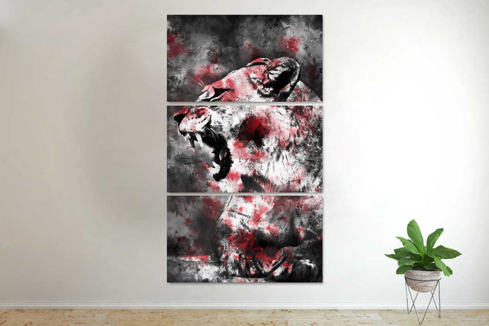 Abstract Lioness Canvas