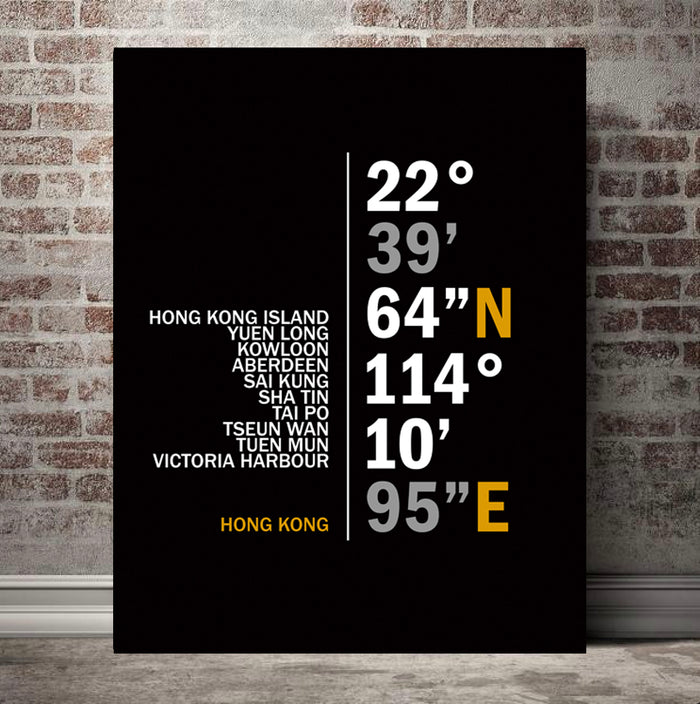 Hong Kong Coordinates Canvas