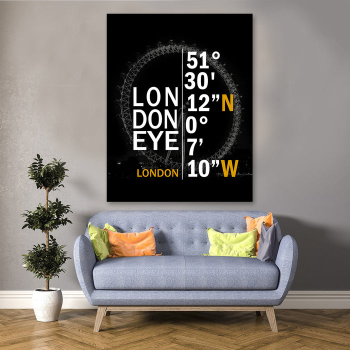 London Eye Coordinates Canvas
